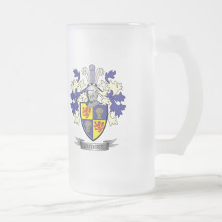 Guthrie Family Crest Coat of Arms Frosted Glass Beer Mug