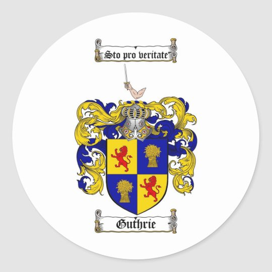 GUTHRIE FAMILY CREST -  GUTHRIE COAT OF ARMS CLASSIC ROUND STICKER