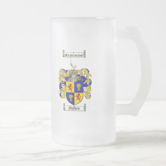 GUTHRIE FAMILY CREST -  GUTHRIE COAT OF ARMS FROSTED GLASS BEER MUG
