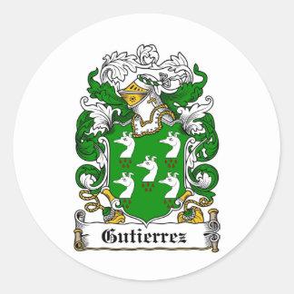 GUTIERREZ FAMILY CREST -  GUTIERREZ COAT OF ARMS CLASSIC ROUND STICKER