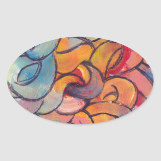 """""""Guts"""" Abstract Painting Oval Sticker"""