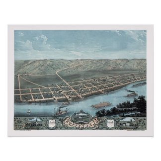 Guttenburg, IA Panoramic Map - 1869 Poster