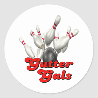 Gutter Gals Bowling Classic Round Sticker