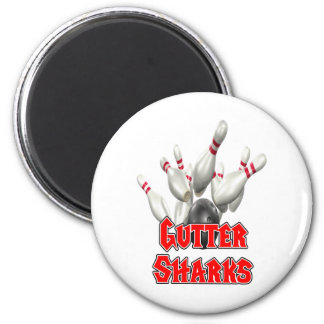 Gutter Sharks Bowling 2 Inch Round Magnet
