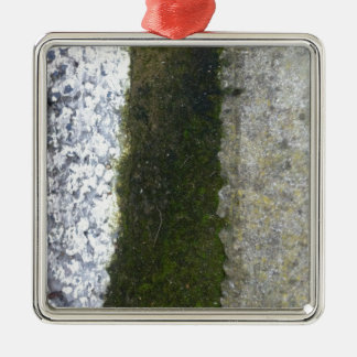 Gutter Trash -- Slime with concrete gutter. Square Metal Christmas Ornament