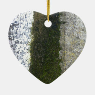 Gutter Trash -- Slime with concrete gutter. Double-Sided Heart Ceramic Christmas Ornament