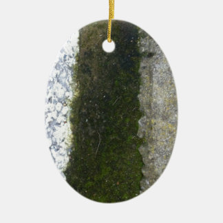 Gutter Trash -- Slime with concrete gutter. Double-Sided Oval Ceramic Christmas Ornament