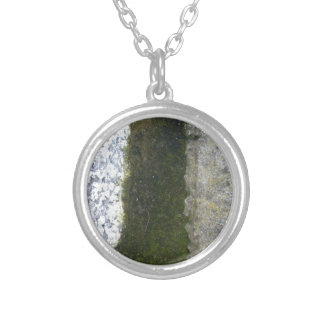Gutter Trash -- Slime with concrete gutter. Round Pendant Necklace