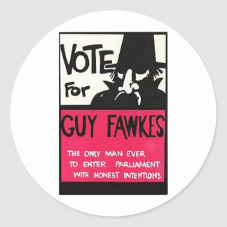 Guy Fawkes campaign Classic Round Sticker