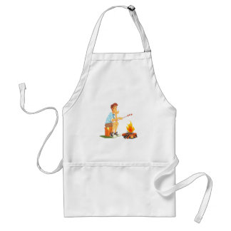 Guy Frying Meat On Camp Bonfire. Cool Colorful Adult Apron