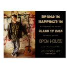 Guy Grad Grunge Photo Open House Invitation Postcard