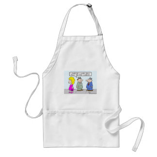 Guy inherited deficit from wife's first husband. aprons