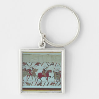 Guy of Ponthieu takes Harold, to Beaurain Silver-Colored Square Keychain