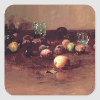 Guy Rose- Plums, Waterglass and Peaches Square Sticker