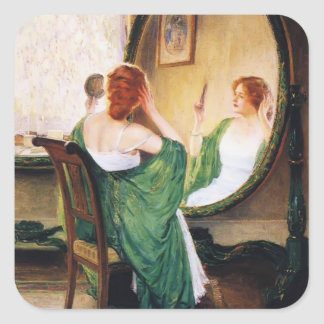 Guy Rose- The Green Mirror Square Sticker
