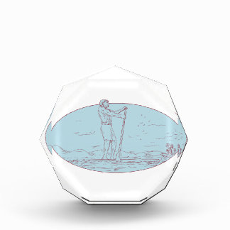 Guy Stand Up Paddle Tropical Island Oval Drawing Award