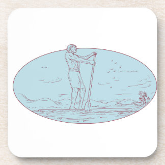Guy Stand Up Paddle Tropical Island Oval Drawing Beverage Coaster