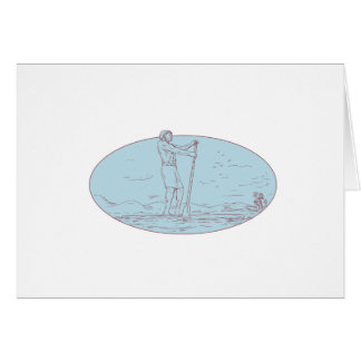 Guy Stand Up Paddle Tropical Island Oval Drawing Card