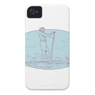 Guy Stand Up Paddle Tropical Island Oval Drawing iPhone 4 Case