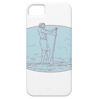 Guy Stand Up Paddle Tropical Island Oval Drawing iPhone SE/5/5s Case