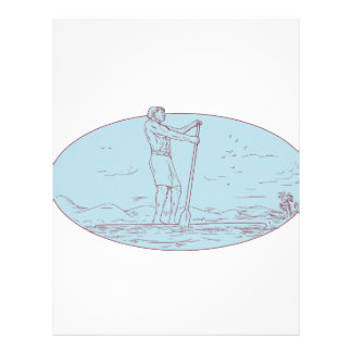 Guy Stand Up Paddle Tropical Island Oval Drawing Letterhead