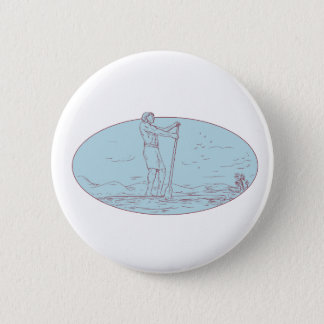 Guy Stand Up Paddle Tropical Island Oval Drawing Pinback Button