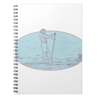 Guy Stand Up Paddle Tropical Island Oval Drawing Spiral Notebook