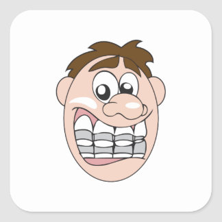 GUY WITH BRACES SQUARE STICKER