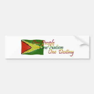 Guyana Bumper Sticker Flag with Motto