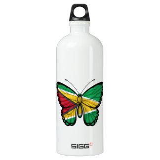 Guyana Butterfly Flag Aluminum Water Bottle
