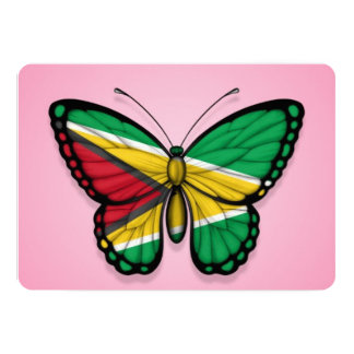 """Guyana Butterfly Flag on Pink 5"""" X 7"""" Invitation Card"""