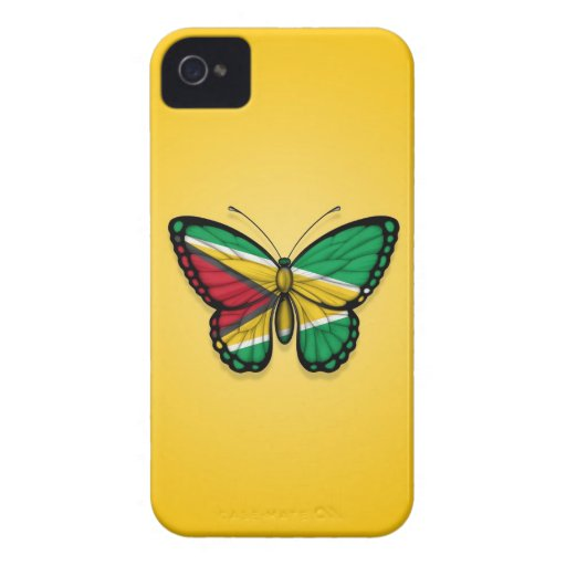 Guyana Butterfly Flag on Yellow iPhone 4 Case-Mate Case