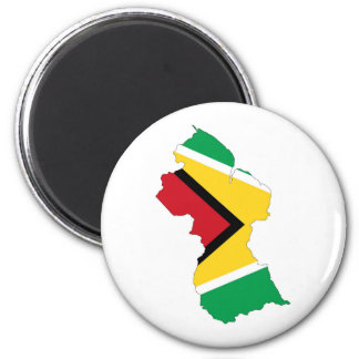 guyana country flag map shape symbol 2 inch round magnet