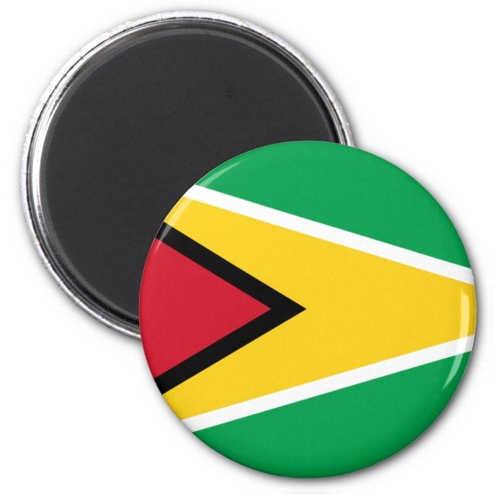 Guyana flag 2 inch round magnet