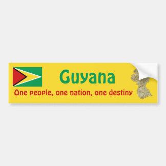 Guyana Flag and Map Bumper Sticker
