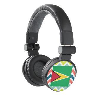 Guyana Flag Box on Colorful Chevron Headphones
