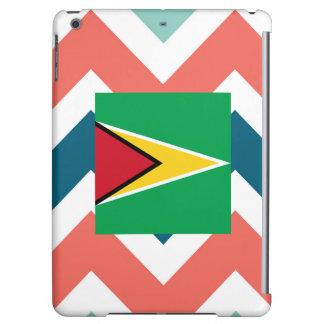 Guyana Flag Box on Colorful Chevron Cover For iPad Air