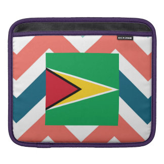 Guyana Flag Box on Colorful Chevron Sleeve For iPads