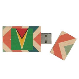 Guyana Flag Box on Colorful Chevron Wood USB 2.0 Flash Drive