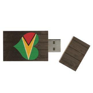 Guyana flag colored wood USB 2.0 flash drive