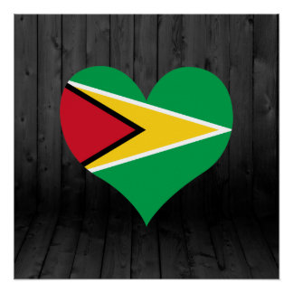 Guyana flag colored poster