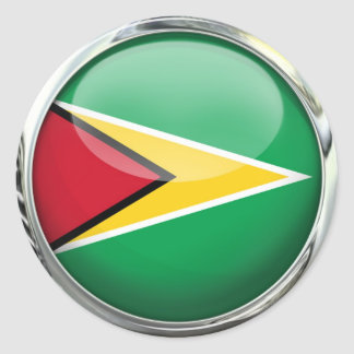 Guyana Flag Glass Ball Classic Round Sticker