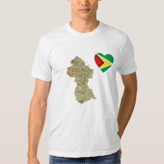 Guyana Flag Heart and Map T-Shirt