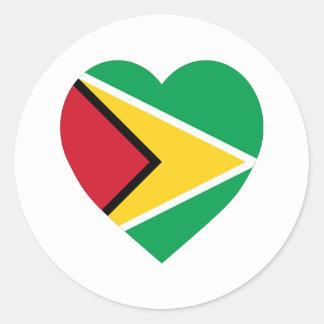 Guyana Flag Heart Classic Round Sticker