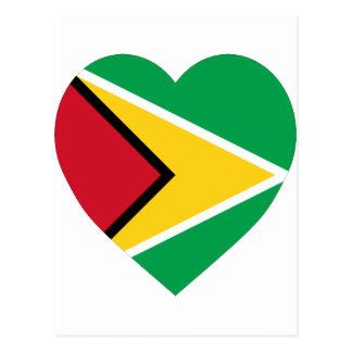 Guyana Flag Heart Postcard