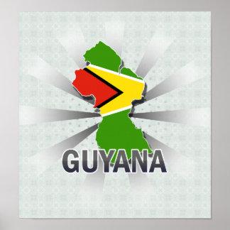 Guyana Flag Map 2.0 Poster