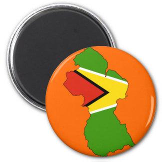 Guyana flag map 2 inch round magnet