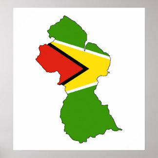 Guyana Flag Map full size Poster