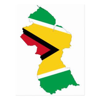Guyana Flag Map GY Postcard