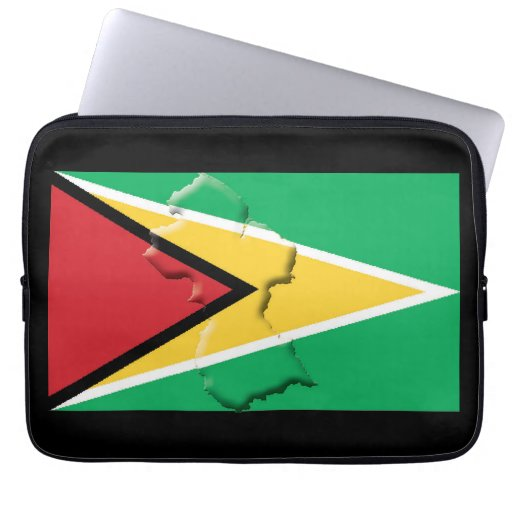GUYANA Flag Map Patriotic Computer BLACK Laptop Sleeve